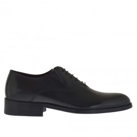Eleganter Herrenschuh mit Schnürsenkeln und Gummibändern aus schwarzem Leder - Verfügbare Größen: 36, 50