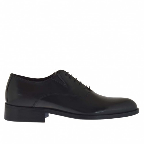 Elegant men's shoe with laces and rubber bands in black leather - Available sizes:  36, 50