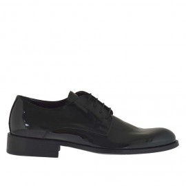 Men's laced-up derby shoe in black patent leather - Available sizes:  36, 49, 50, 51