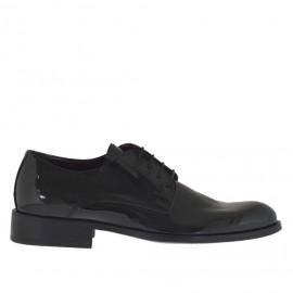 Zapato con cordones en charol negro - Tallas disponibles:  36, 37, 47, 48, 49, 50, 51