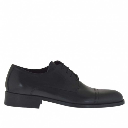 Men's laced derby shoe with captoe in black leather - Available sizes:  36, 37, 38, 46, 47, 48, 49, 50