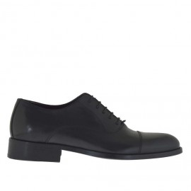 Elegant men's shoes with laces in black leather - Available sizes:  48, 49