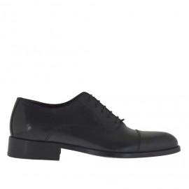 Elegante zapato para hombre con cordones en piel negra - Tallas disponibles:  48, 49