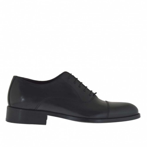 Elegant men's shoes with laces in black leather - Available sizes:  49