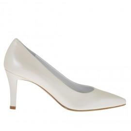 Zapato de salón para mujer en piel marfil perlado tacon 7 - Tallas disponibles:  32, 34, 44, 45