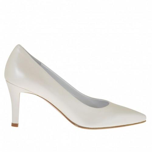 Escarpin pour femmes en cuir ivoire perlé talon 7 - Pointures disponibles:  33, 34, 42, 43, 45
