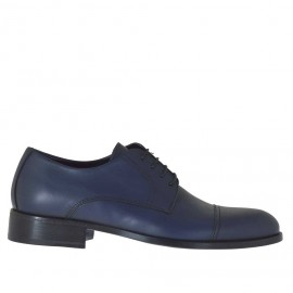 Elegant laced men's shoes Derby style in blue leather - Available sizes: 36, 38, 47, 49