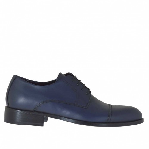 Men's laced derby shoe with captoe in blue leather - Available sizes:  49