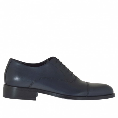 Elegant laced men's shoes Oxford style with captoe in dark blue leather - Available sizes:  48, 50