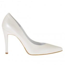 Zapato de salon para mujer en piel de color marfil perlado tacon 10 - Tallas disponibles:  34, 43, 45