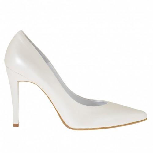 Escarpin pour femmes en cuir perlé ivoire talon 10 - Pointures disponibles:  34, 43, 45