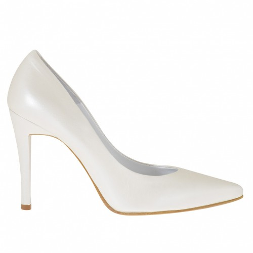 Woman's pump in pearled ivory leather heel 10 - Available sizes:  34, 43, 45