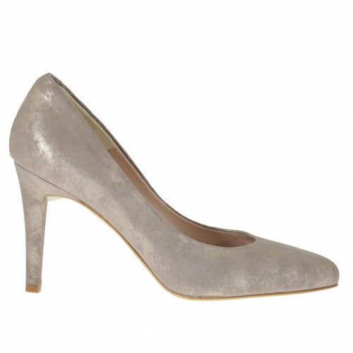 Woman's pump in taupe and platinum laminated leather heel 9 - Available sizes:  46