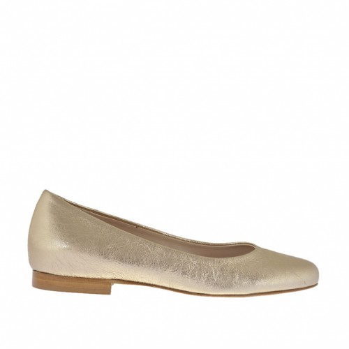 Woman's ballerina shoe with round tip in platinum laminated leather heel 1 - Available sizes:  32