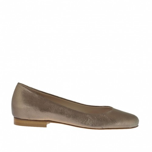 Woman's ballerina shoe with round tip in cannon bronze laminated leather heel 1 - Available sizes:  33