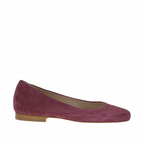 Woman's ballerina shoe with round tip in plum suede heel 1 - Available sizes:  32