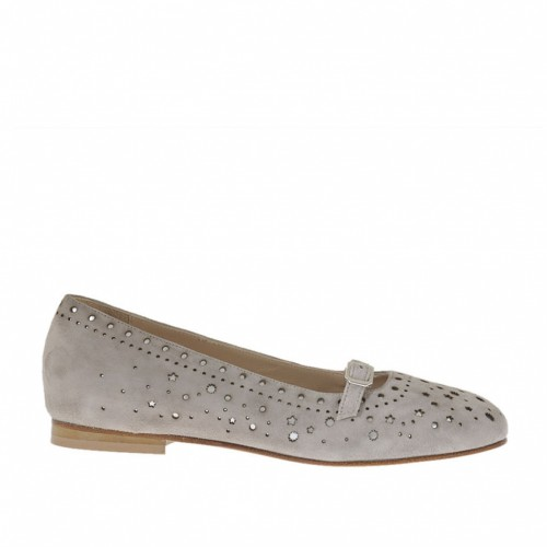 Woman's ballerina shoe with strap in pierced grey suede and laminated silver leather heel 1 - Available sizes:  33, 42, 46