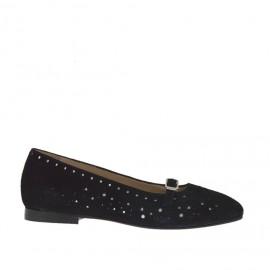 Bailarina para mujer con correa en gamuza negra perforada y piel laminada plateada tacon 1 - Tallas disponibles:  32, 45