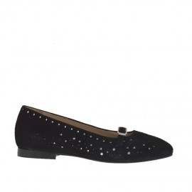 Woman's ballerina shoe with strap in pierced black suede and laminated silver leather heel 1 - Available sizes:  32, 45