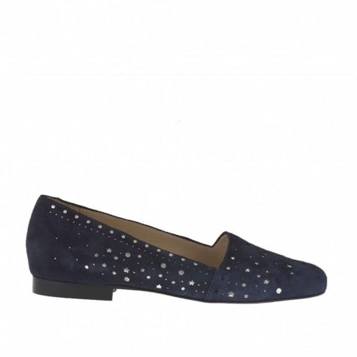 Chaussure fermée pour femmes en daim bleu perforé y cuir lamé argent talon 1 - Pointures disponibles:  33