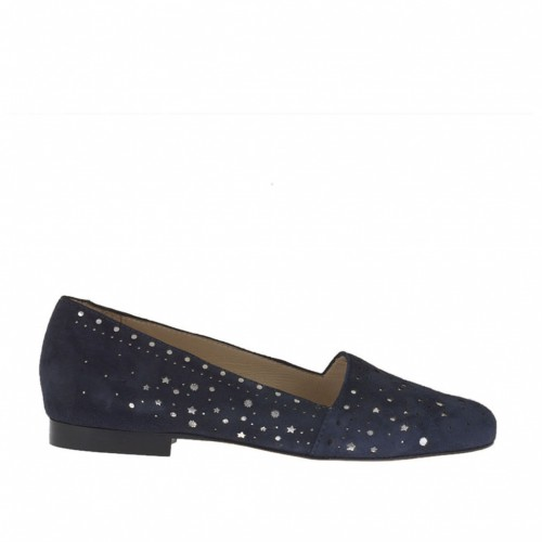 Woman's high-fronted shoe in pierced blue suede and laminated silver leather heel 1 - Available sizes:  33