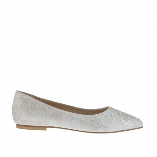 Woman's ballerina shoe with studs in silver laminated antiqued leather heel 1 - Available sizes:  33