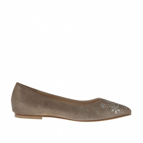 Woman's ballerina shoe with studs in cannon bronze laminated antiqued leather heel 1 - Available sizes:  32, 33, 46