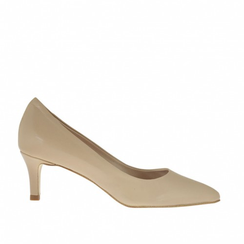 Woman's pump in beige leather heel 5 - Available sizes:  32