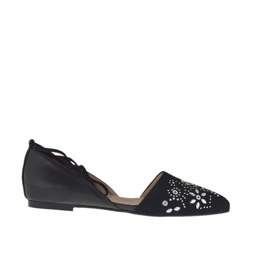 Woman's open shoe with laces and studs in black suede and leather heel 1 - Available sizes:  42