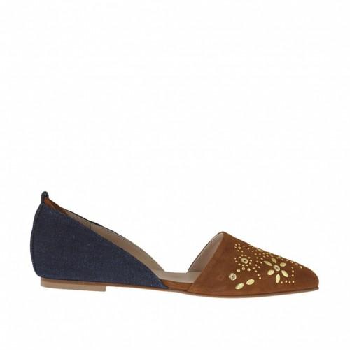 Chaussure ouvert pour femmes avec lacets et goujons en tissu denim et daim brun tabac talon 1 - Pointures disponibles:  32