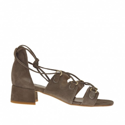 Woman's open shoe with laces and golden loops in taupe suede heel 3 - Available sizes:  32, 43