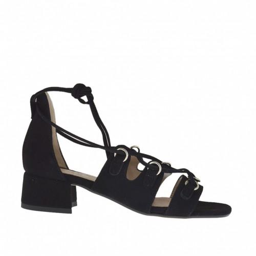 Chaussure ouvert pour femmes avec lacets et passants d'or en daim noir talon 3 - Pointures disponibles:  32