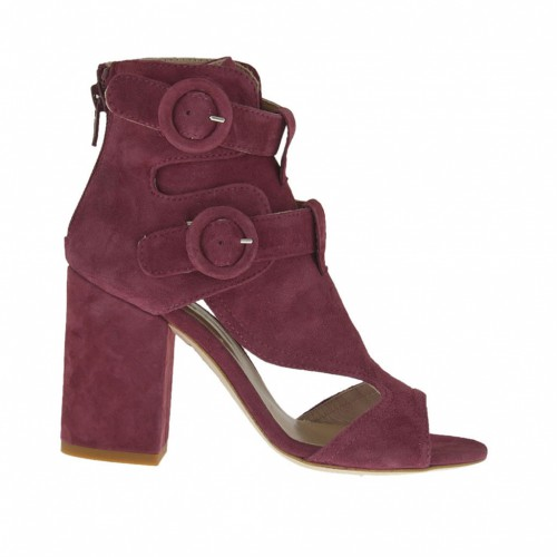 Woman's open high-fronted shoe with straps and zipper in plum suede heel 8 - Available sizes:  42