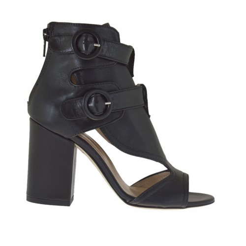 Woman's open high-fronted shoe with straps and zipper in black leather heel 8 - Available sizes:  42
