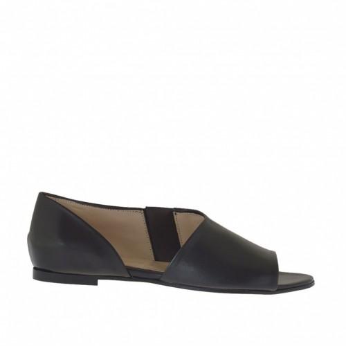 Chaussure ouvert pour femmes avec elastique en cuir noir talon 1 - Pointures disponibles:  46