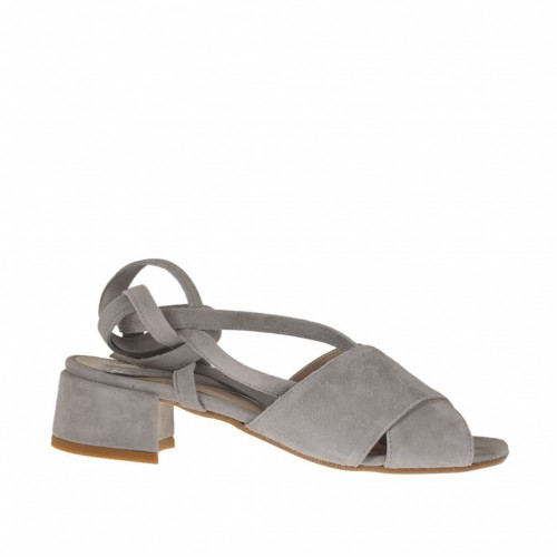 Woman's sandal with laces in grey suede heel 3 - Available sizes:  32, 33