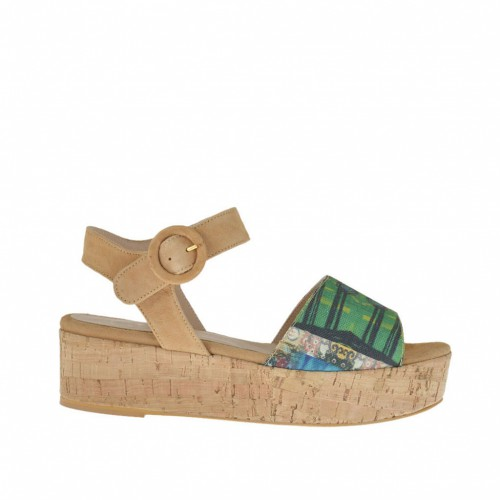 Woman's sandal in multicolored fabric and beige suede cork wedge heel 3 - Available sizes:  42