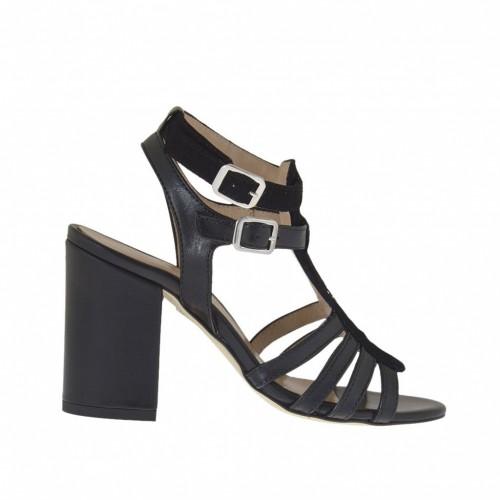 Sandale pour femmes avec courroies et strass en cuir et daim noir talon 8 - Pointures disponibles:  32, 42, 43, 45