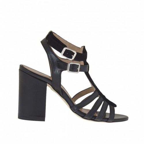 Woman's strappy sandal with strass in black leather and suede heel 8 - Available sizes:  32, 42