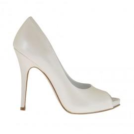 Zapato de salon con punta abierta y plataforma en piel marfil perlado tacon 11 - Tallas disponibles:  32, 34, 42, 43, 44, 45