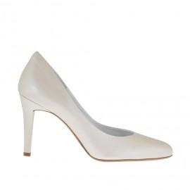 Zapato de salón para mujer en piel marfil perlado tacon 9 - Tallas disponibles:  34, 42, 44