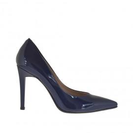 Decolté da donna in vernice laccata blu tacco 10 - Misure disponibili: 46