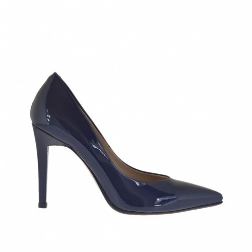 Woman's pump in blue lacquered patent leather heel 10 - Available sizes:  46