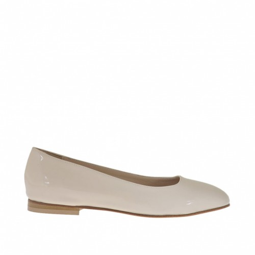 Woman's ballerina in powder-colored patent leather with squared tip heel 1 - Available sizes:  32, 34