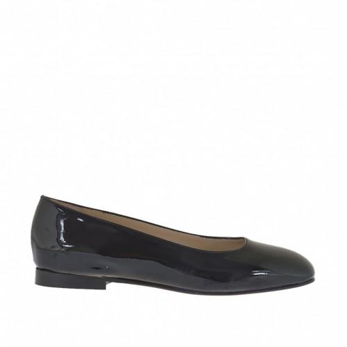 Ballerine pour femmes en cuir verni noir avec bout carré talon 1 - Pointures disponibles:  32