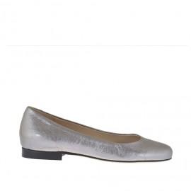 Ballerina da donna con punta tonda in pelle laminata argento tacco 1 - Misure disponibili: 33