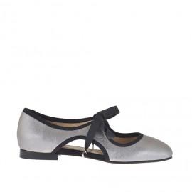 Scarpa stringata da donna in pelle anticata laminata argento e tessuto nero tacco 1 - Misure disponibili: 32, 33, 34, 46