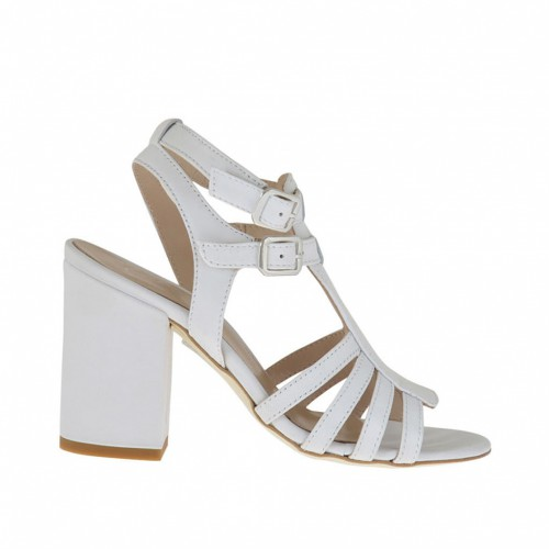Woman's strappy sandal in white leather heel 8 - Available sizes:  44, 45