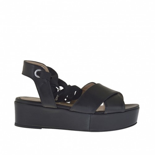 Woman's sandal with lace in black leather wedge heel 4 - Available sizes:  34
