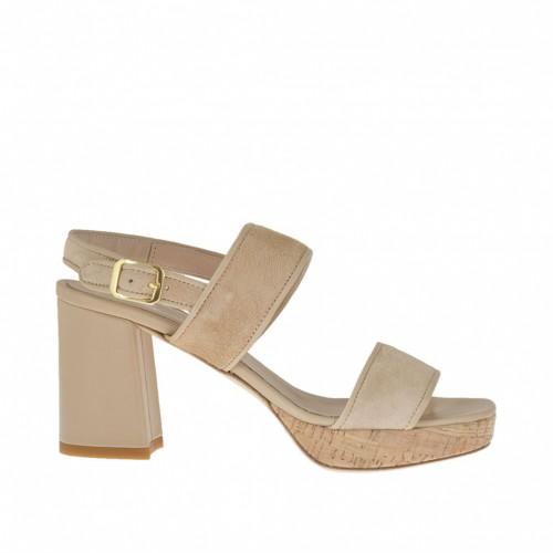 Sandale pour femmes en daim et cuir beige avec plateforme en liège et talon 7 - Pointures disponibles:  44